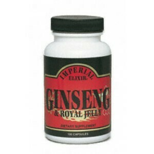 Imperial Elixir Ginseng & Royal Jelly 500 mg Capsules Imperial Elixir® Ginseng & Royal Jelly Capsules 50ct