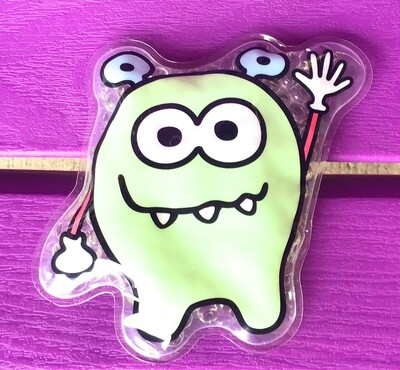 Mint Green Monster Boo Boo Pack - Flexible Gel Cold Compress Therapy - Reusable Heat Wraps with Straps for Kids Teens & Adults