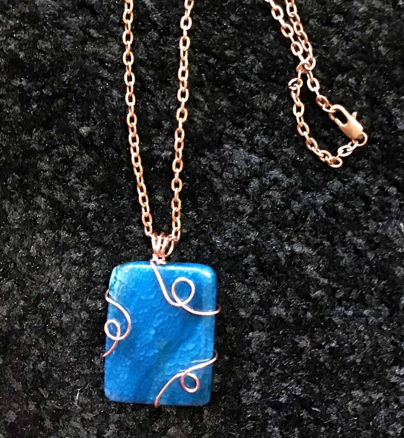 """Blue Wrapped Stone on 16"""" Chain With Lobster Clasp"""