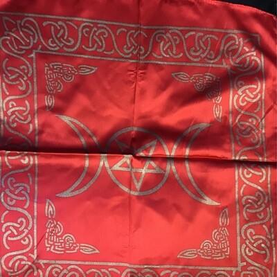 "Red Triple Moon Altar Cloth 18""x18"""