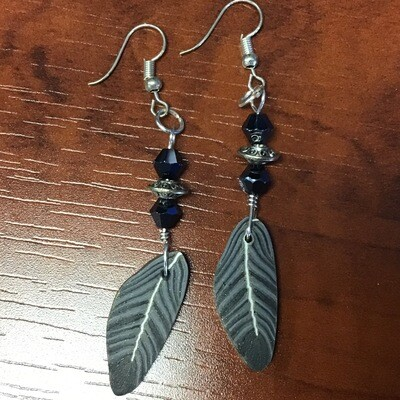 Black and Grey Feather Earrings