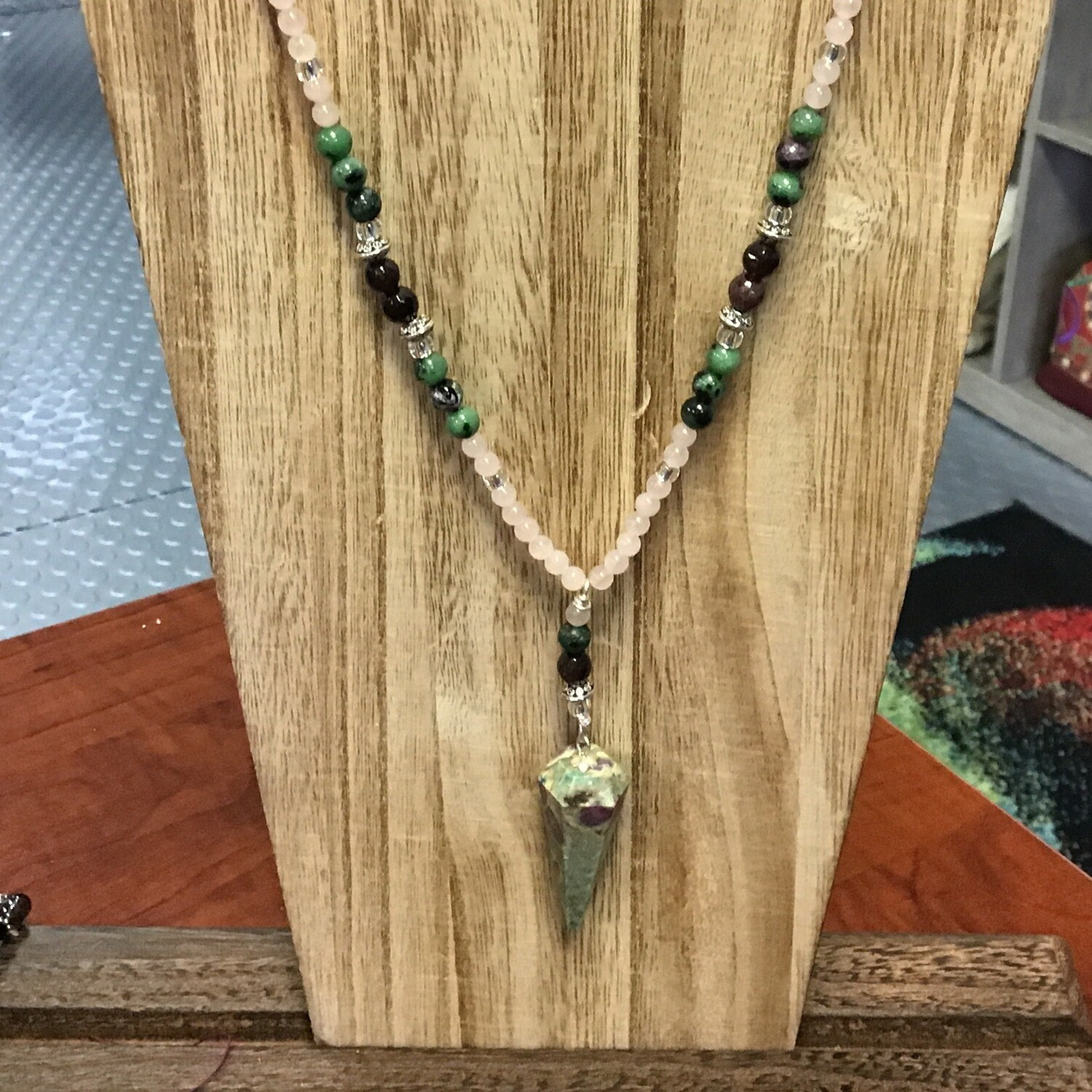 Ruby in Zoisite & Rose Quartz Pendulum Necklace