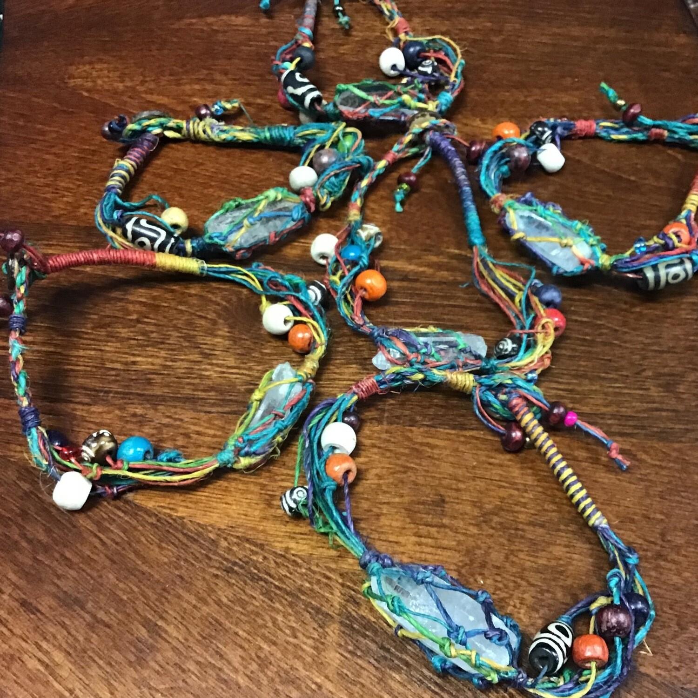 Quartz Crystal Hemp Bracelet