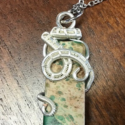 """Imperial Jasper with Silver Wrap on 18"""" chain"""