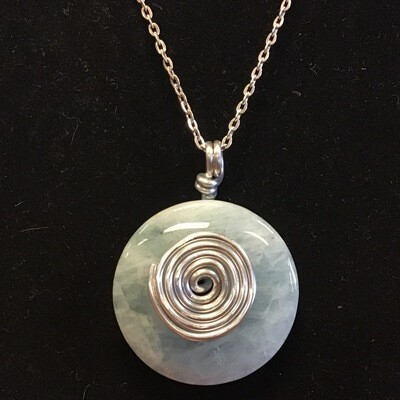 Aquamarine Spiral Necklace