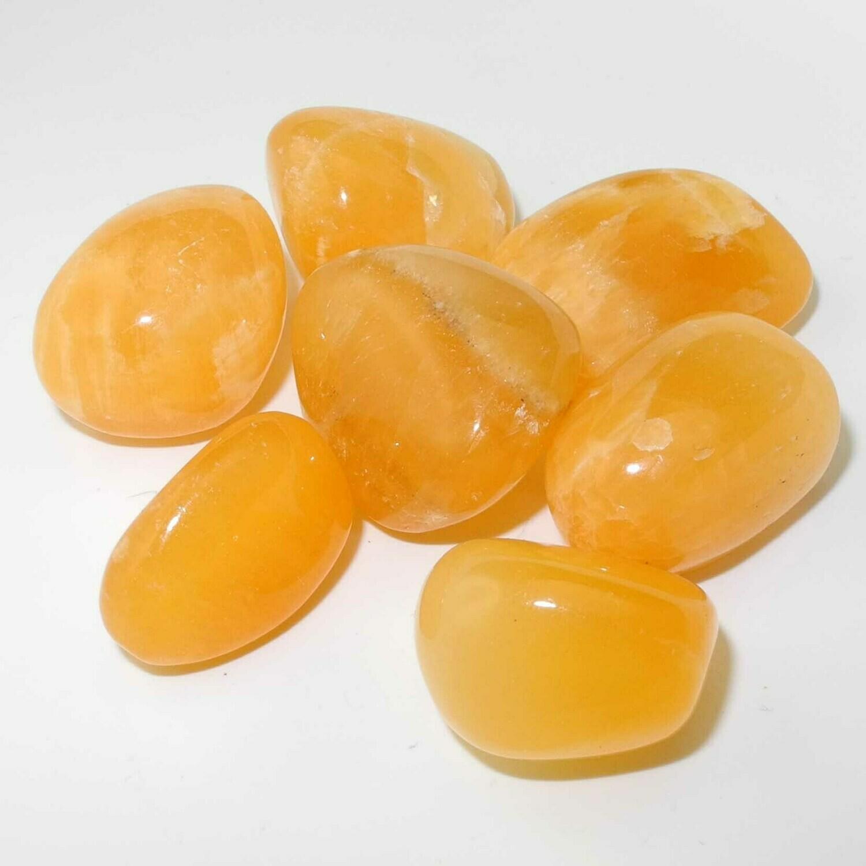 Orange Calcite Tumbled and Raw