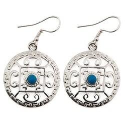 "Mandala White Metal Earrings - 1"" D"