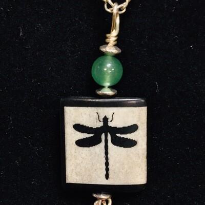 Dragonfly Necklace W Green Aventurine