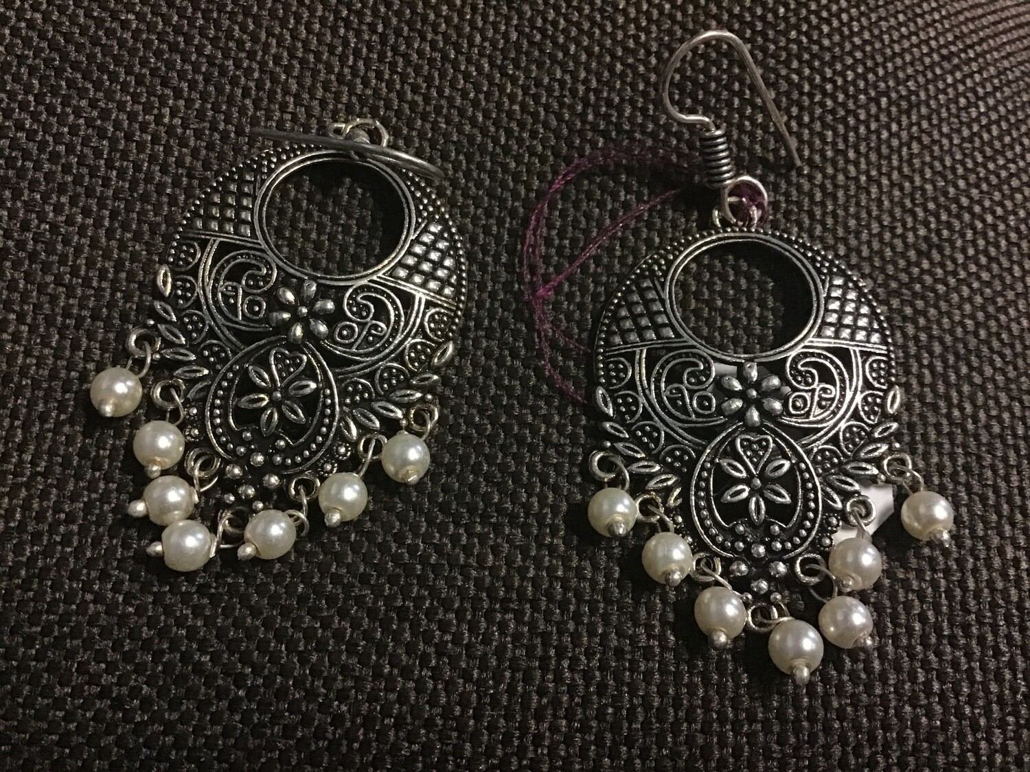 "Earrings with Pearl Beads White Metal - 1""W, 2.25""L"