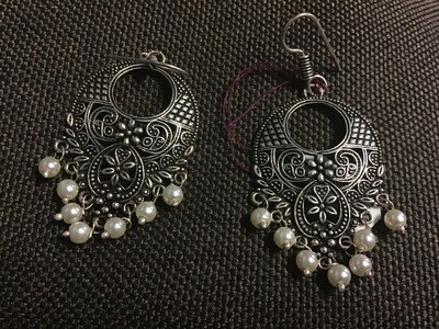 Earrings with Pearl Beads White Metal - 1