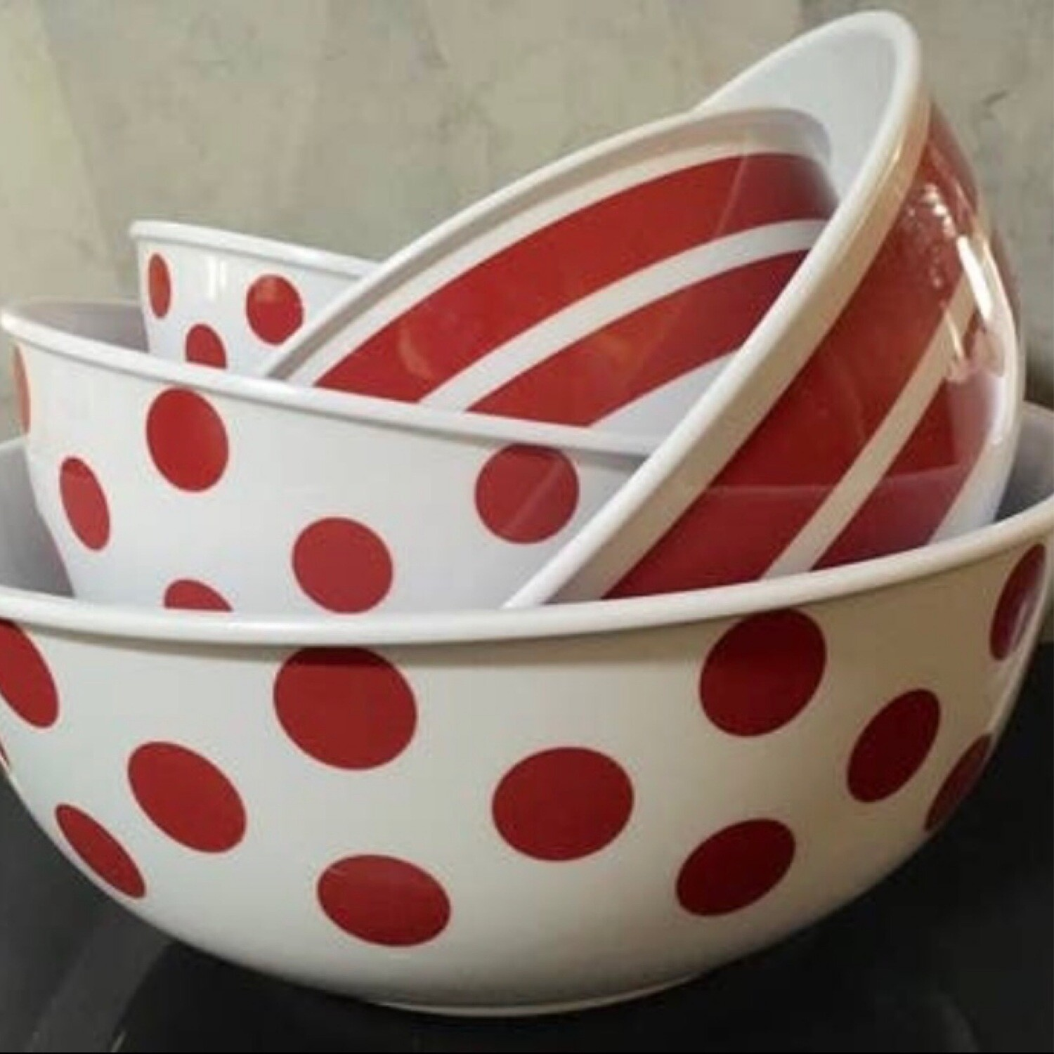 Set of 5 Red Polka Dot and Stripes Mixing Bowls