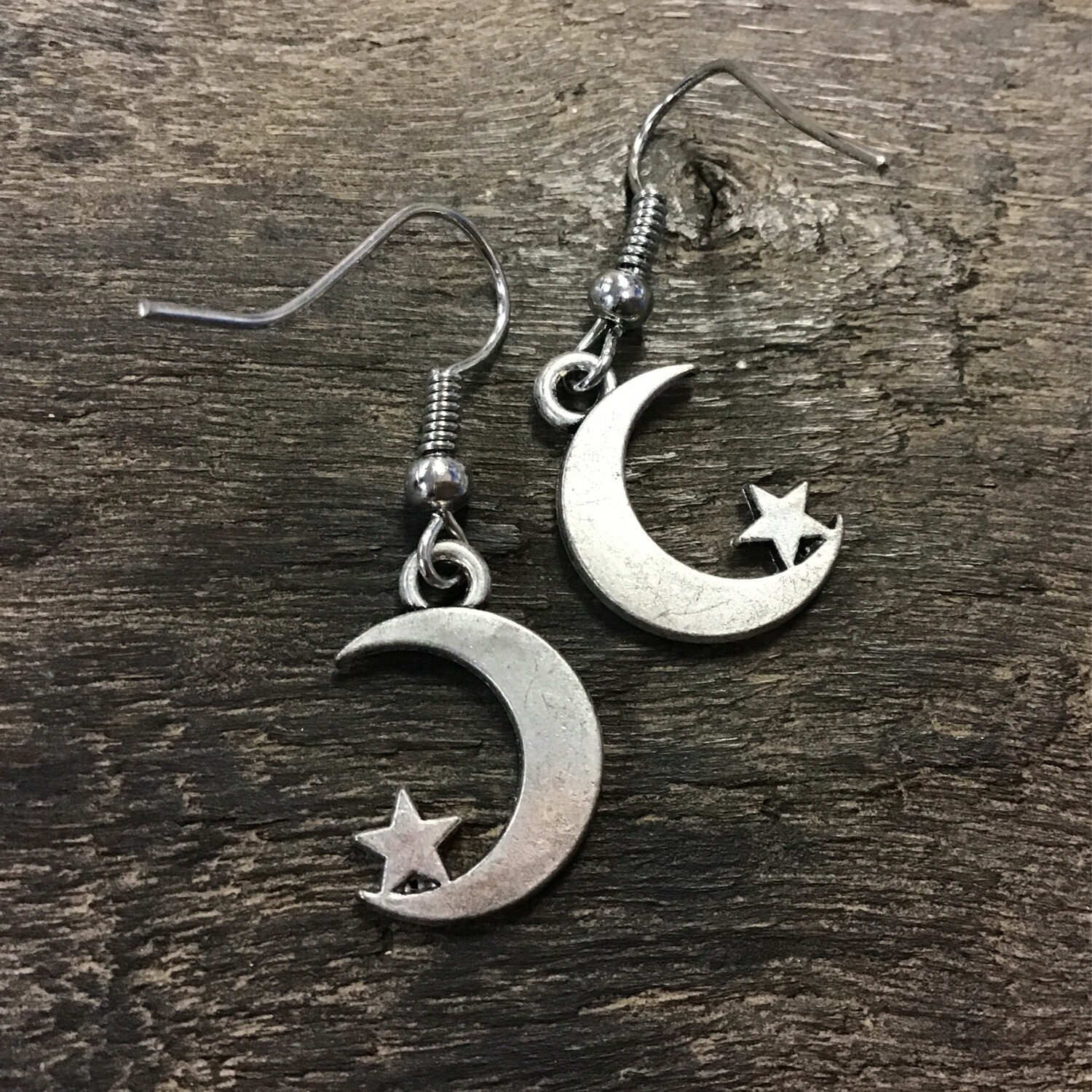 Moon with Star Earring