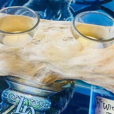 Driftwood Tea Light Holder Two Candles