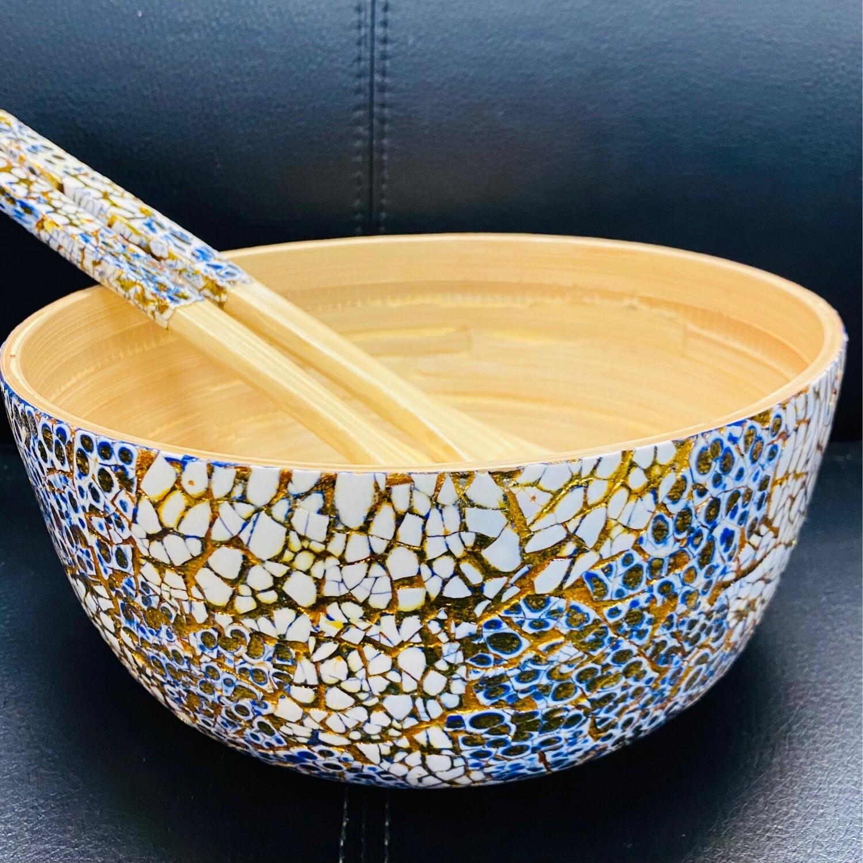 Salad Bowl Set Bamboo Lacquered Blue