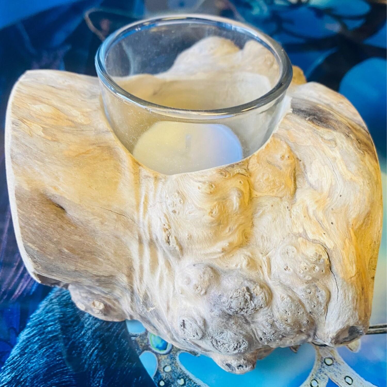 Driftwood Tea Light Holder One Candle