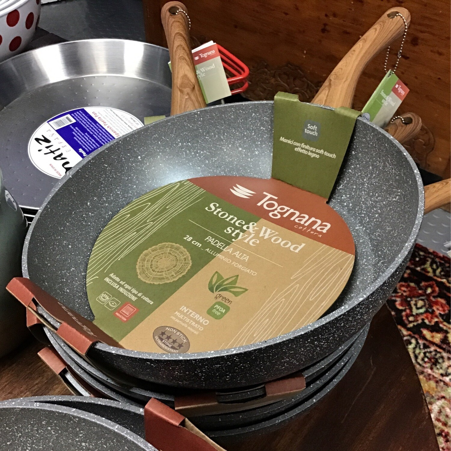 """Deep Frying Pan 11"""" Stone Non Stick Finish with wooden Handle"""