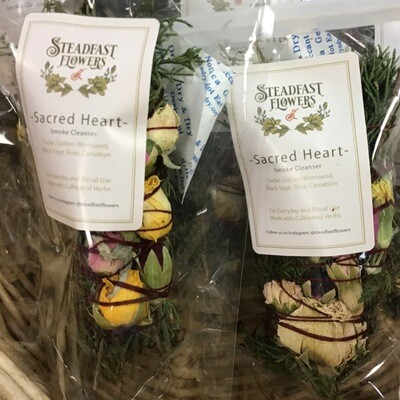 Sacred Heart Smudge, Cedar, Golden Wormwood, Black Sage, Rose& Carnation