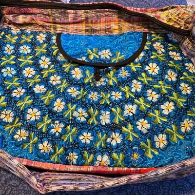 Embroidered Hand Bag Blue