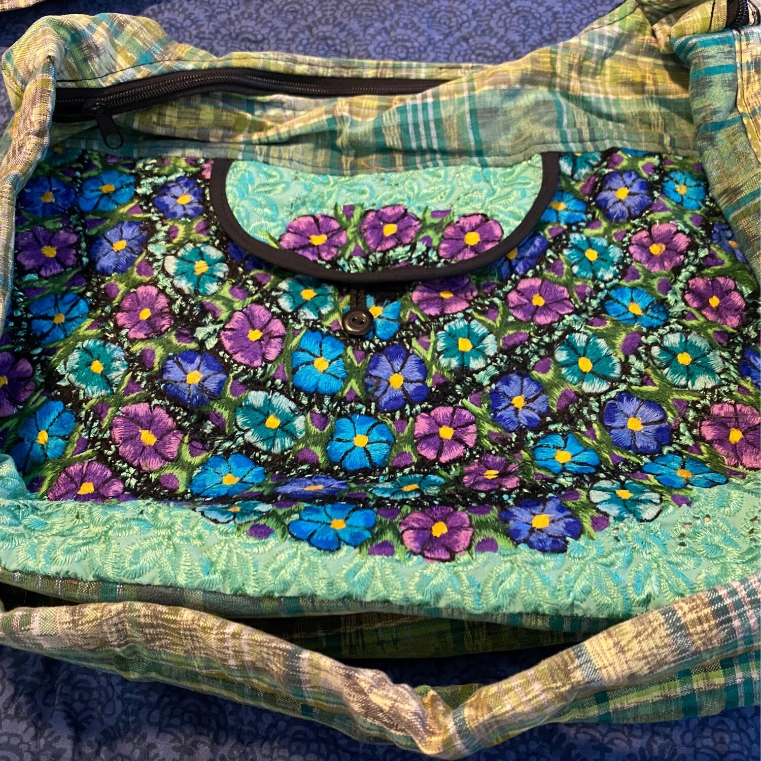 Embroidered Hand Bag Turquoise