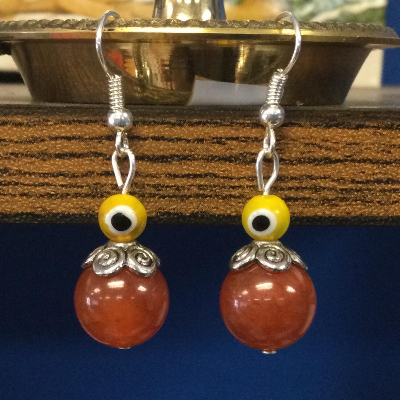 Carnelian evil eye earrings
