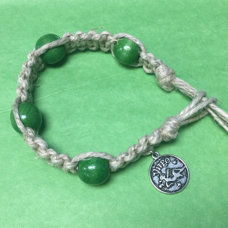Virgo zodiac hemp bracelet