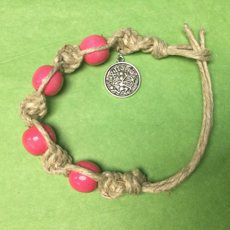Sagittarius spiral hemp bracelet