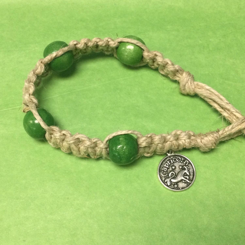 Capricorn zodiac hemp bracelet