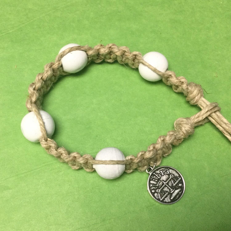 Libra zodiac hemp bracelet