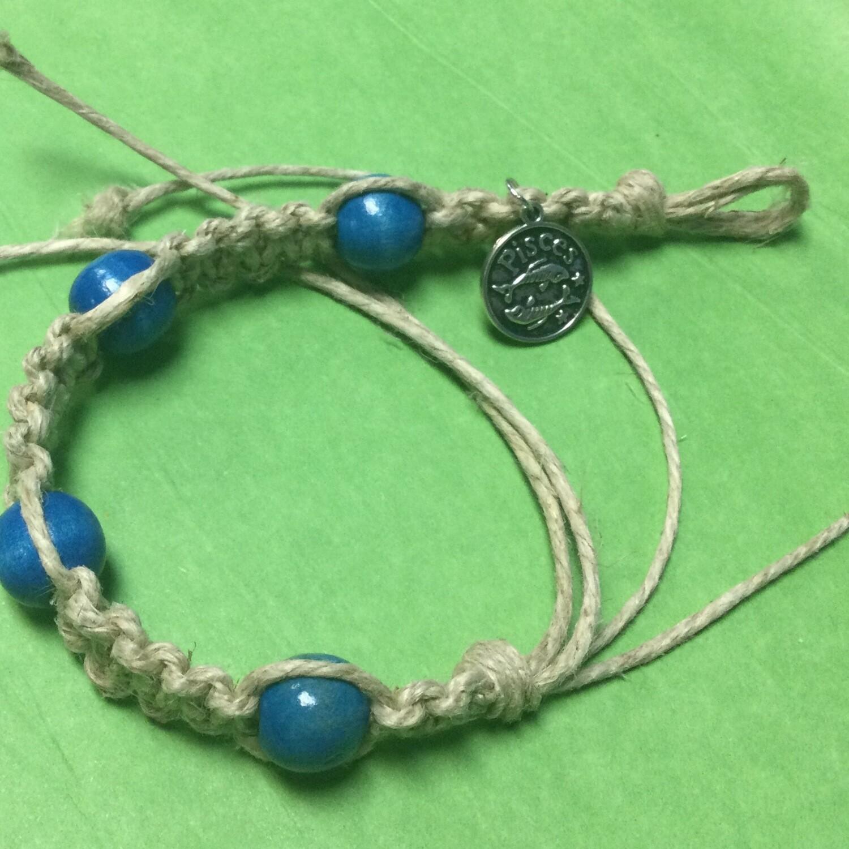 Pisces zodiac hemp bracelet