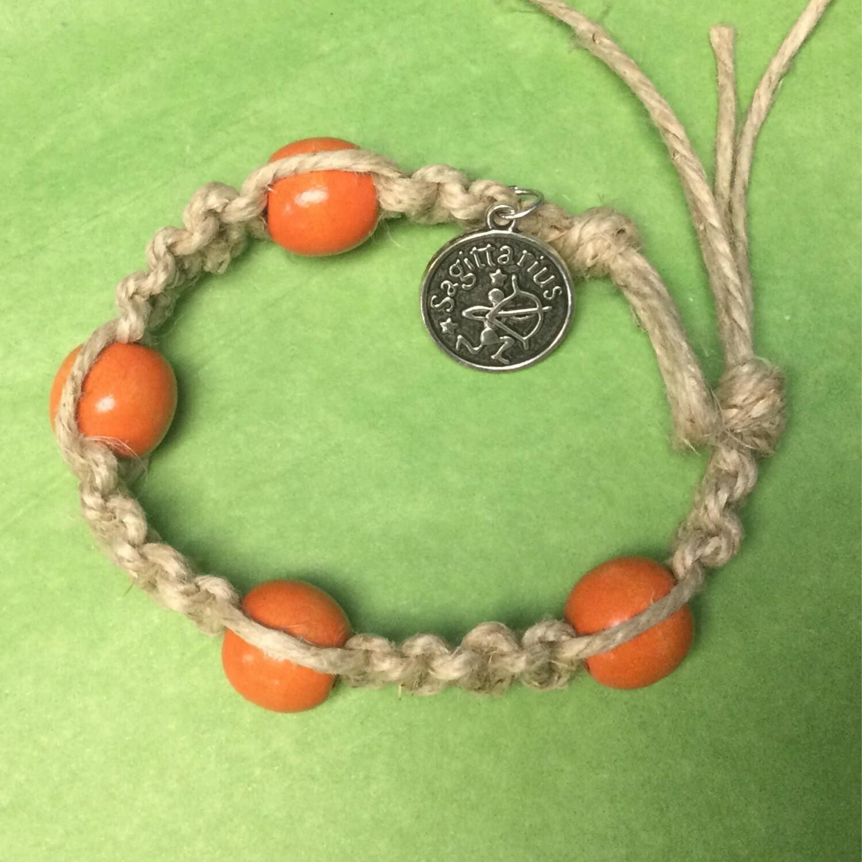 Sagittarius zodiac hemp bracelet