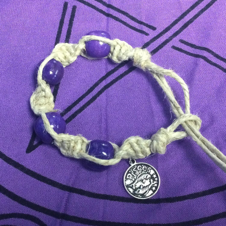 Pisces zodiac spiral hemp bracelet