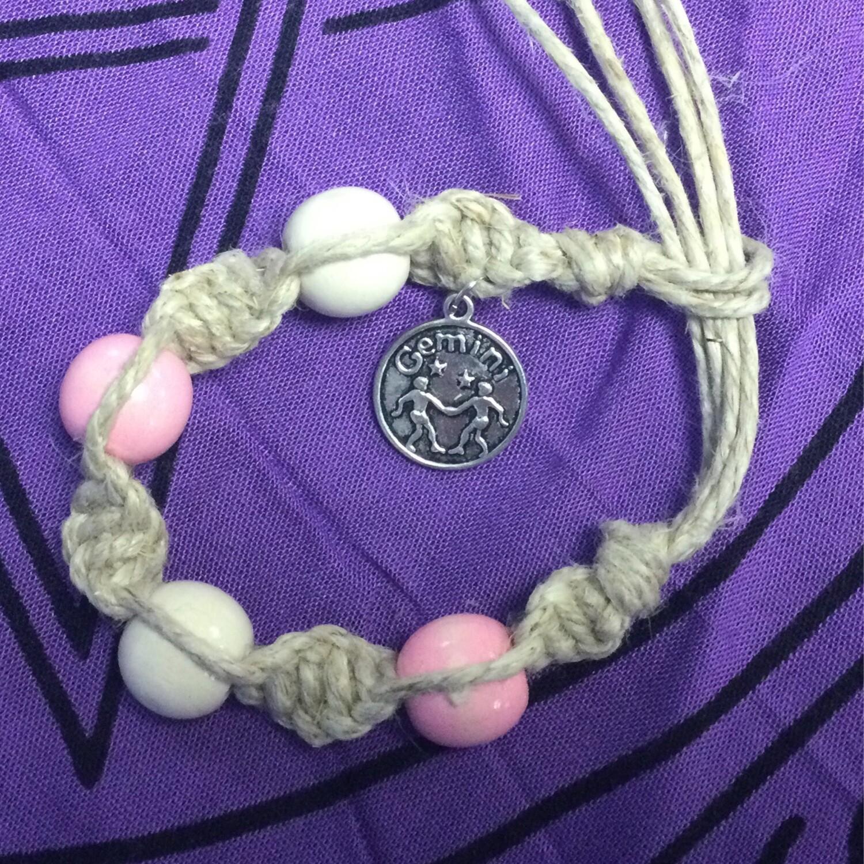 Gemini zodiac hemp bracelet