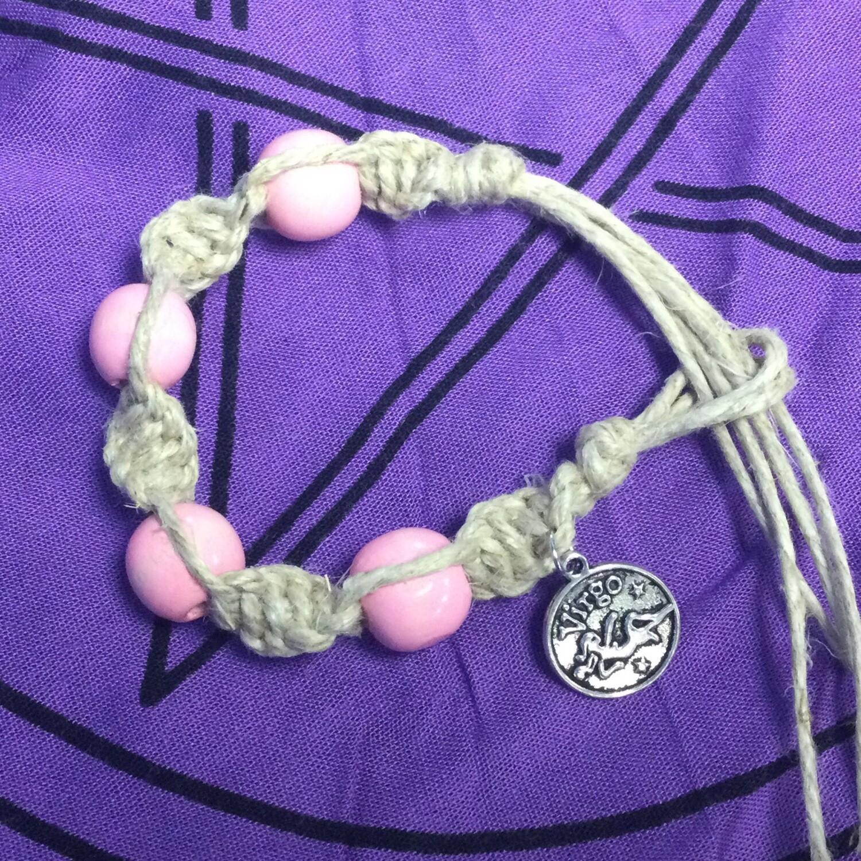 Virgo zodiac spiral hemp bracelet