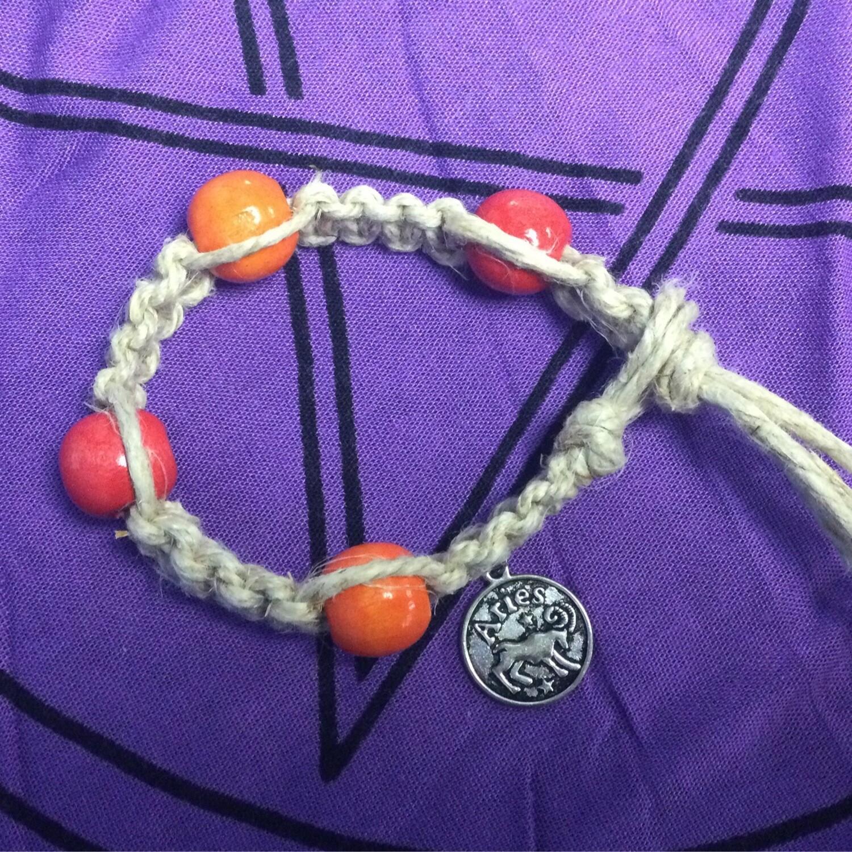 Aries zodiac hemp bracelet