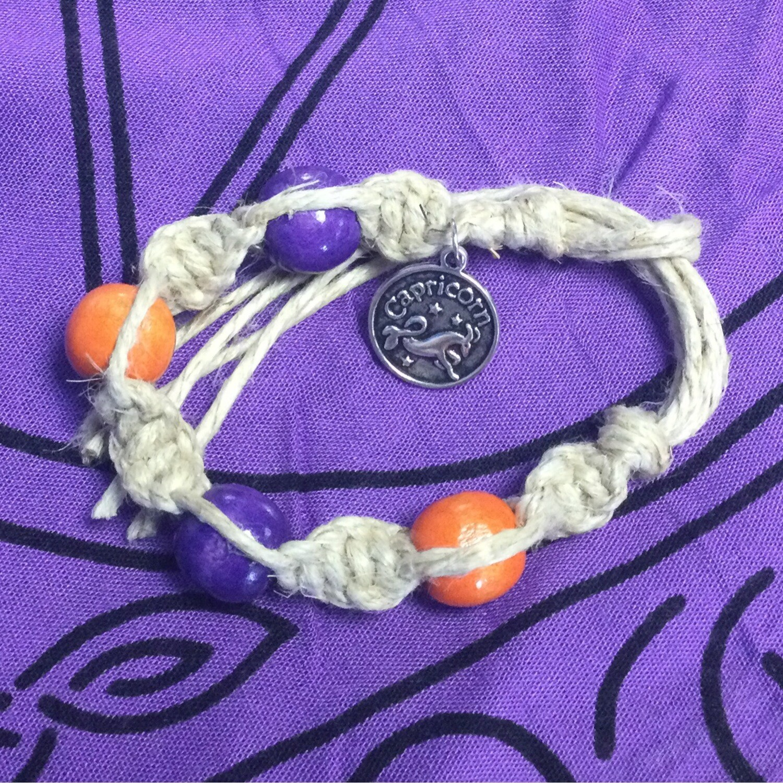Capricorn zodiac spiral hemp bracelet