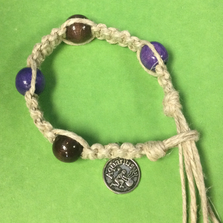 Aquarius zodiac hemp bracelet