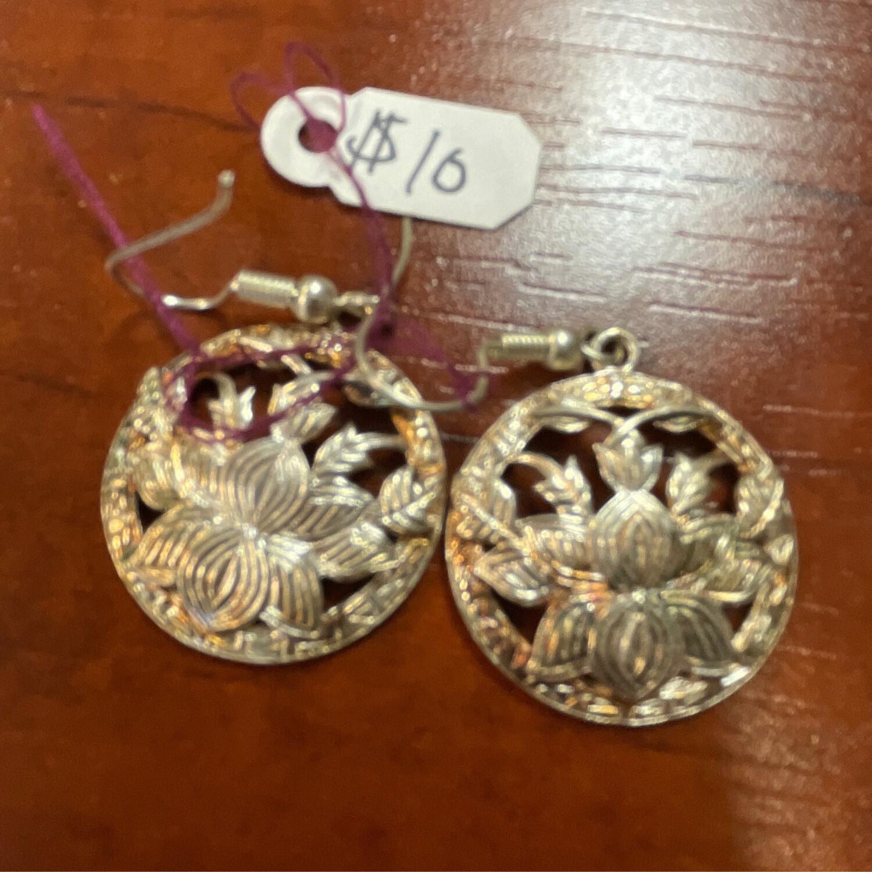 Silver Lotus Earrings