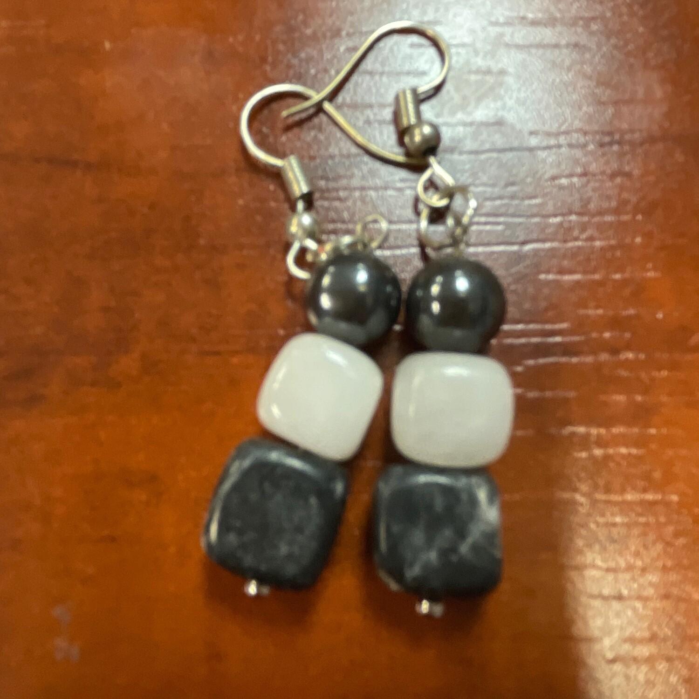 Hematite and white Bead Earring
