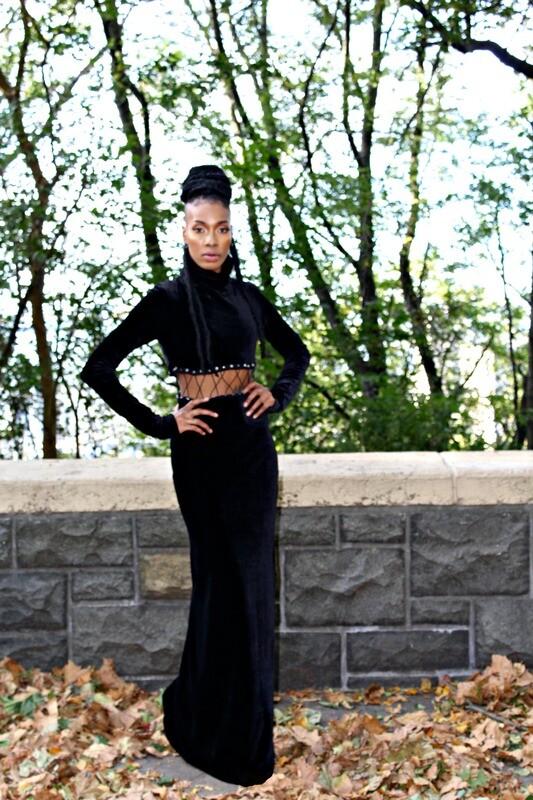 Two piece Black Velvet stretch dress
