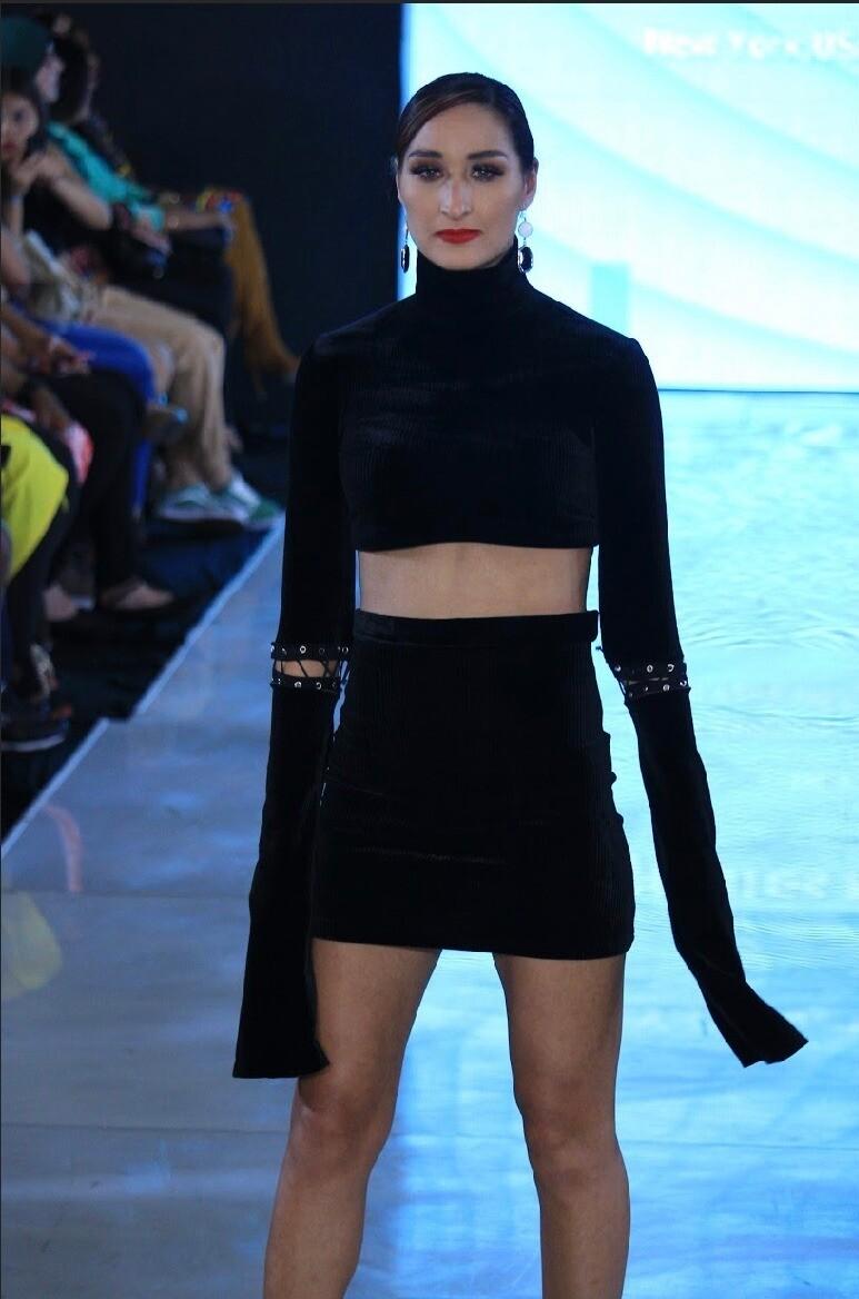 Long Sleeve Crop Top Mini Skirt