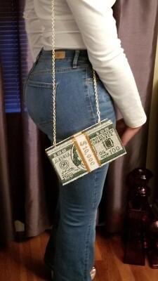 Green rhinestone money clutch