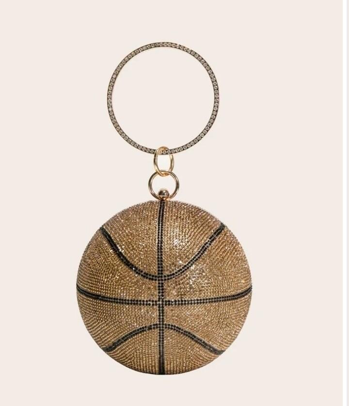 Gold rhinestone basketball bag