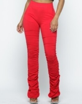Red scrunch pants