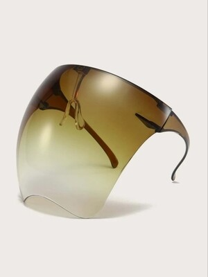 Face shield, brown, black, clear, pink