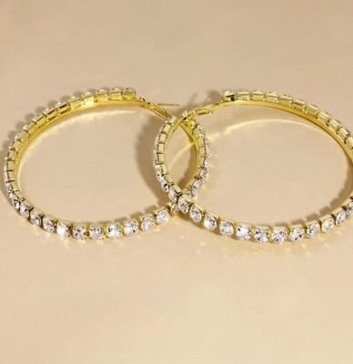 Gold large rhinestone hoops