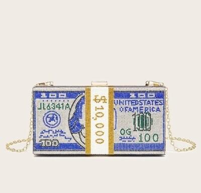 Blue rhinestone money clutch