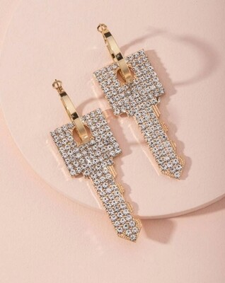 Rhinestone key earrings