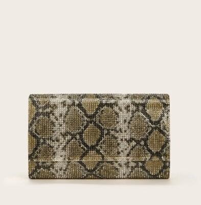 Snake print rhinestone clutch