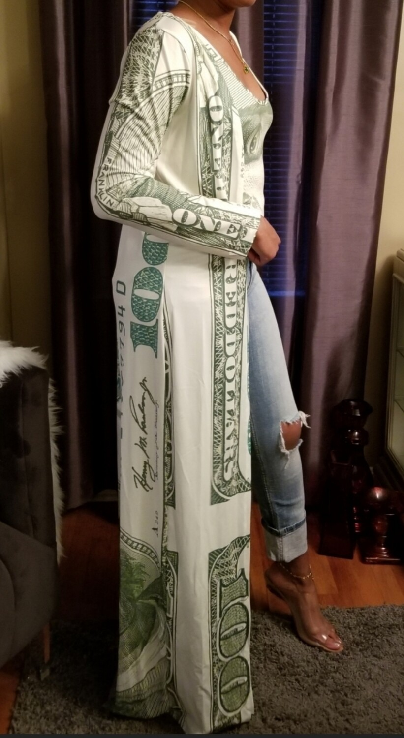 Money print body suit and duster