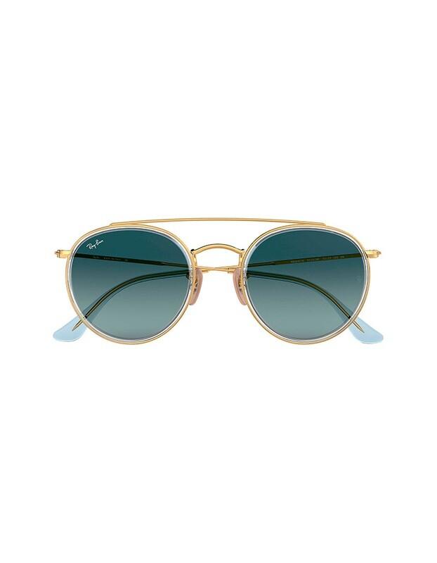 Ray-Ban Round Double Bridge occhiali da sole RB3647N / 91233M Colore oro